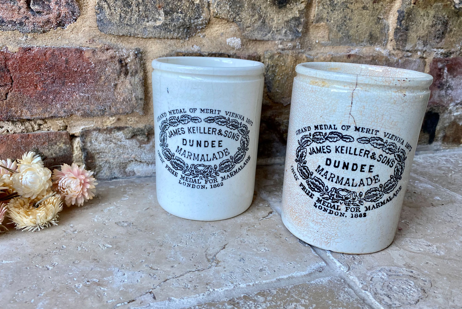 antique victorian large slim tall james keiller white ironstone advertising marmalade pot