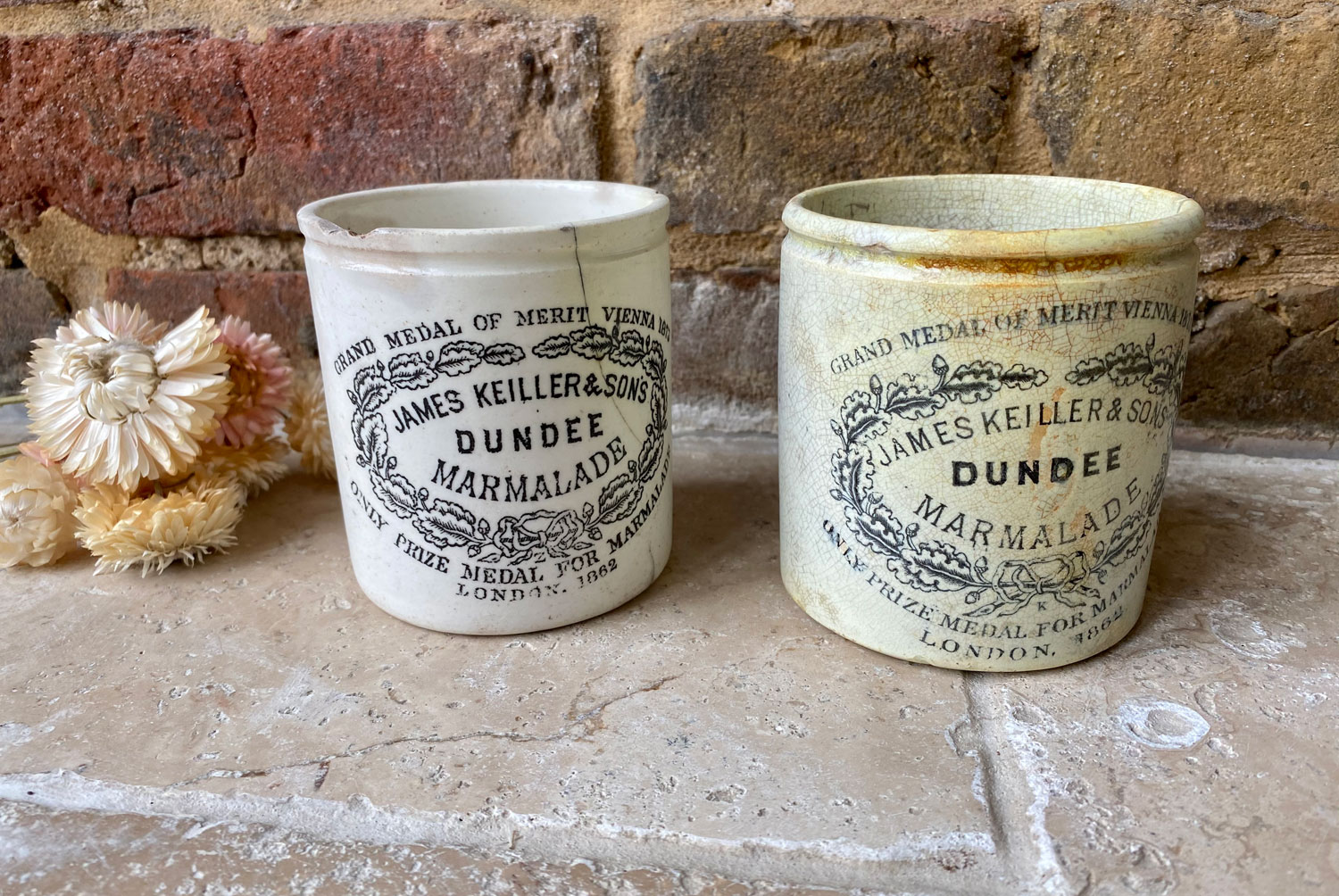 antique victorian white ironstone english scottish advertising pot chubby chippy one pound james keiller dundee marmalade crock pot