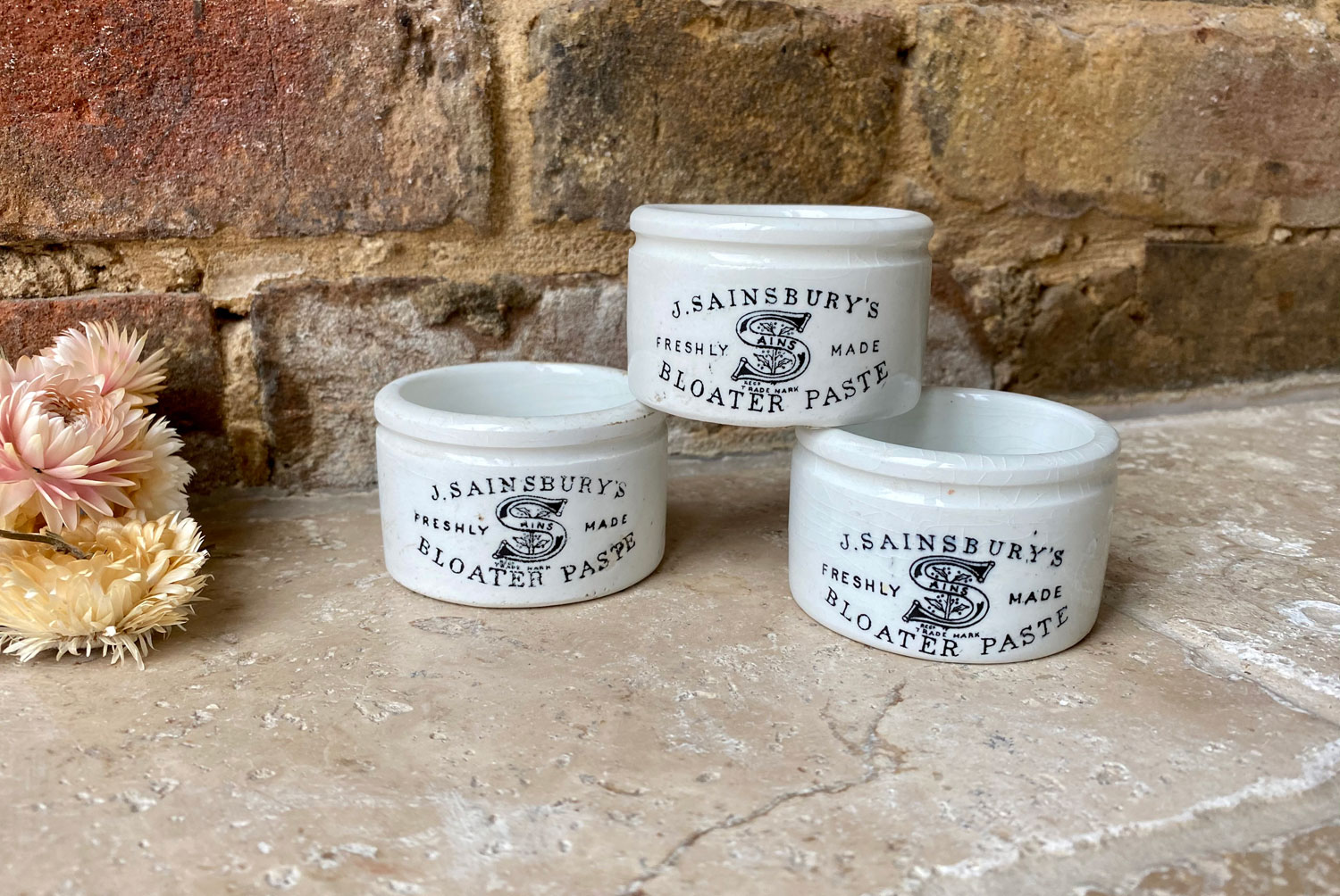antique victorian small english advertising pot j sainsburys bloater paste white ironstone