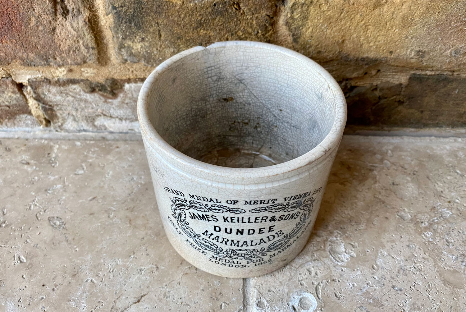 antique victorian rare white ironstone chubby two pound james keiller dundee marmalade english advertising pot