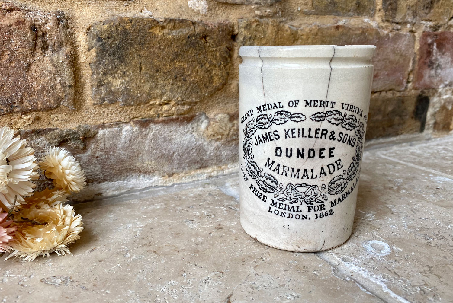 antique victorian white ironstone slim one pound james keiller dundee marmalade english scottish advertising pot