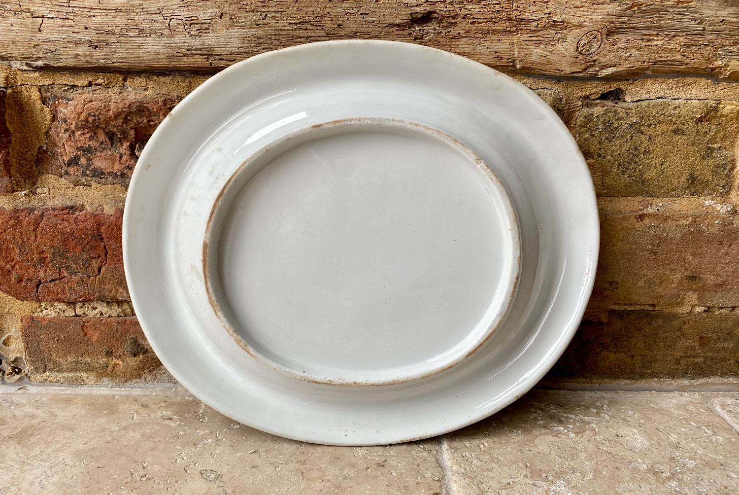 antique victorian english white ironstone bread plate platter give us this day our daily bread motto