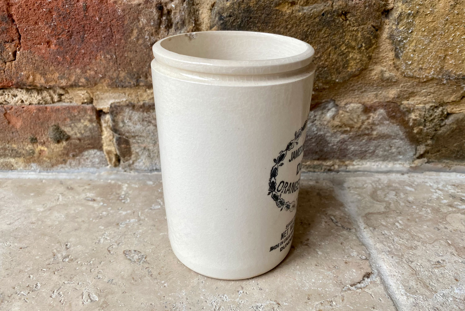 antique early 20th century white ironstone english advertising pot slim one pound james keiller dundee marmalade