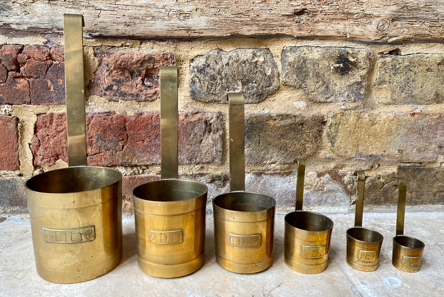 vintage mid century french brass measuring cups set six metric