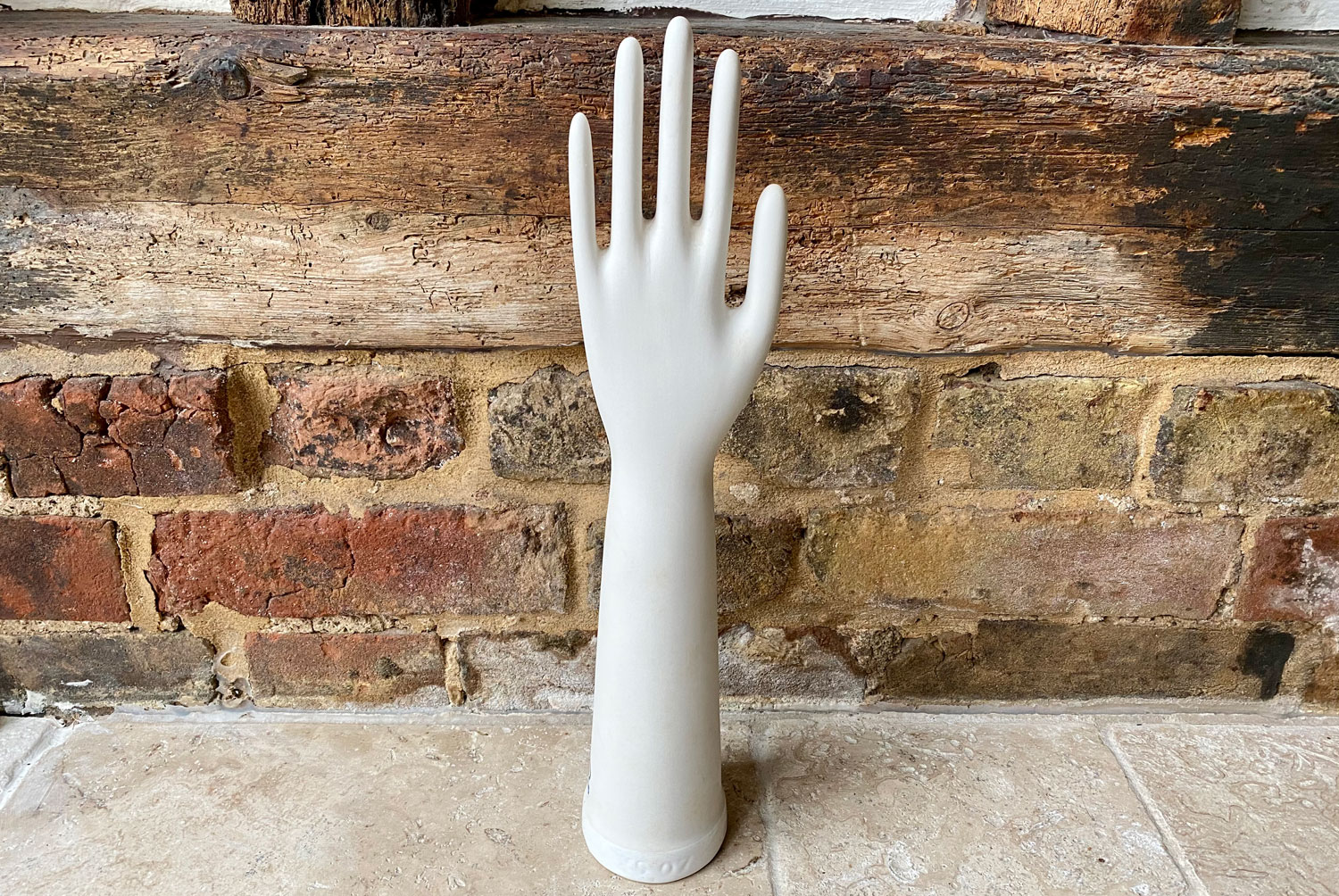 antique 1930s white ironstone factory glove hand stretcher mould shelf ornament