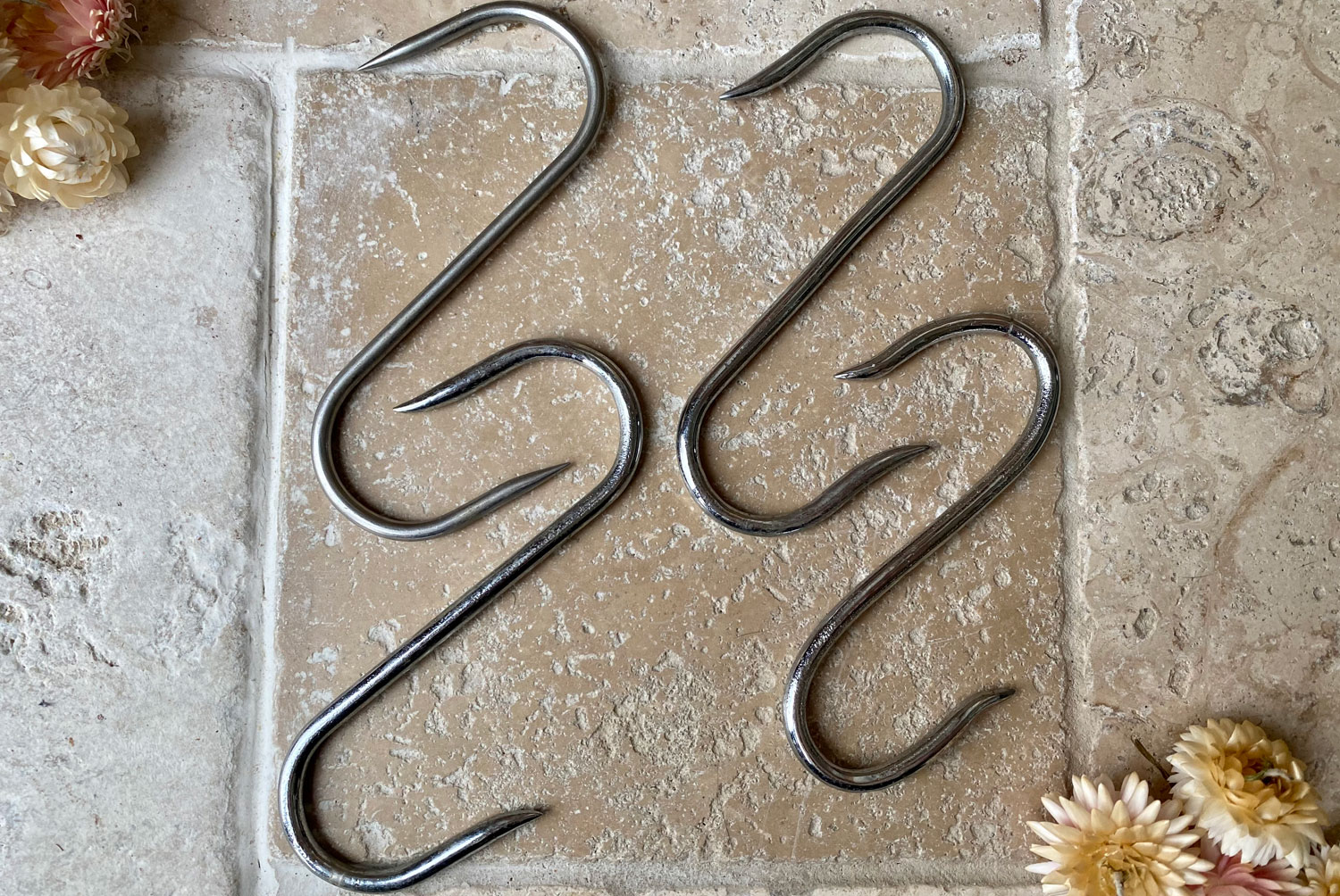 vintage mid century french stainless steel butchers meat hooks