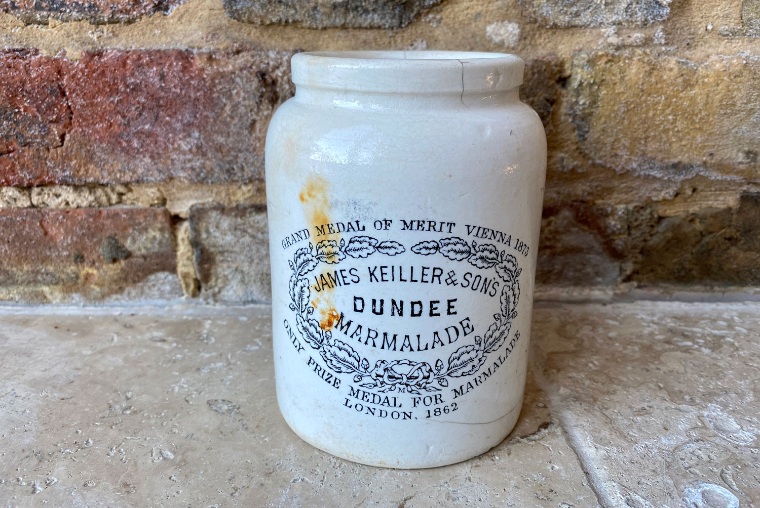 rare antique victorian white ironstone collared large two pound james keiller dundee marmalade scottish english advertising pot