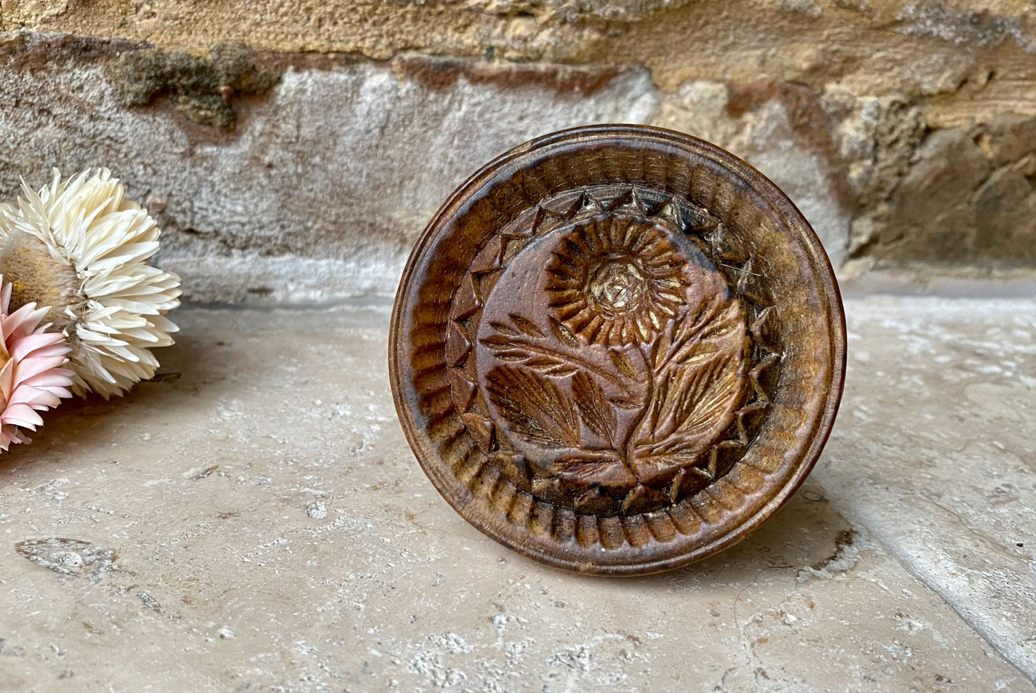 antique victorian 1800s treen wooden english carved butter stamp sunflower pattern