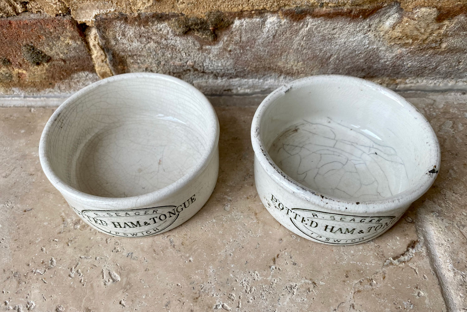 antique rare victorian white ironstone english advertising pot seagers potted ham tongue ipswich green transfer print