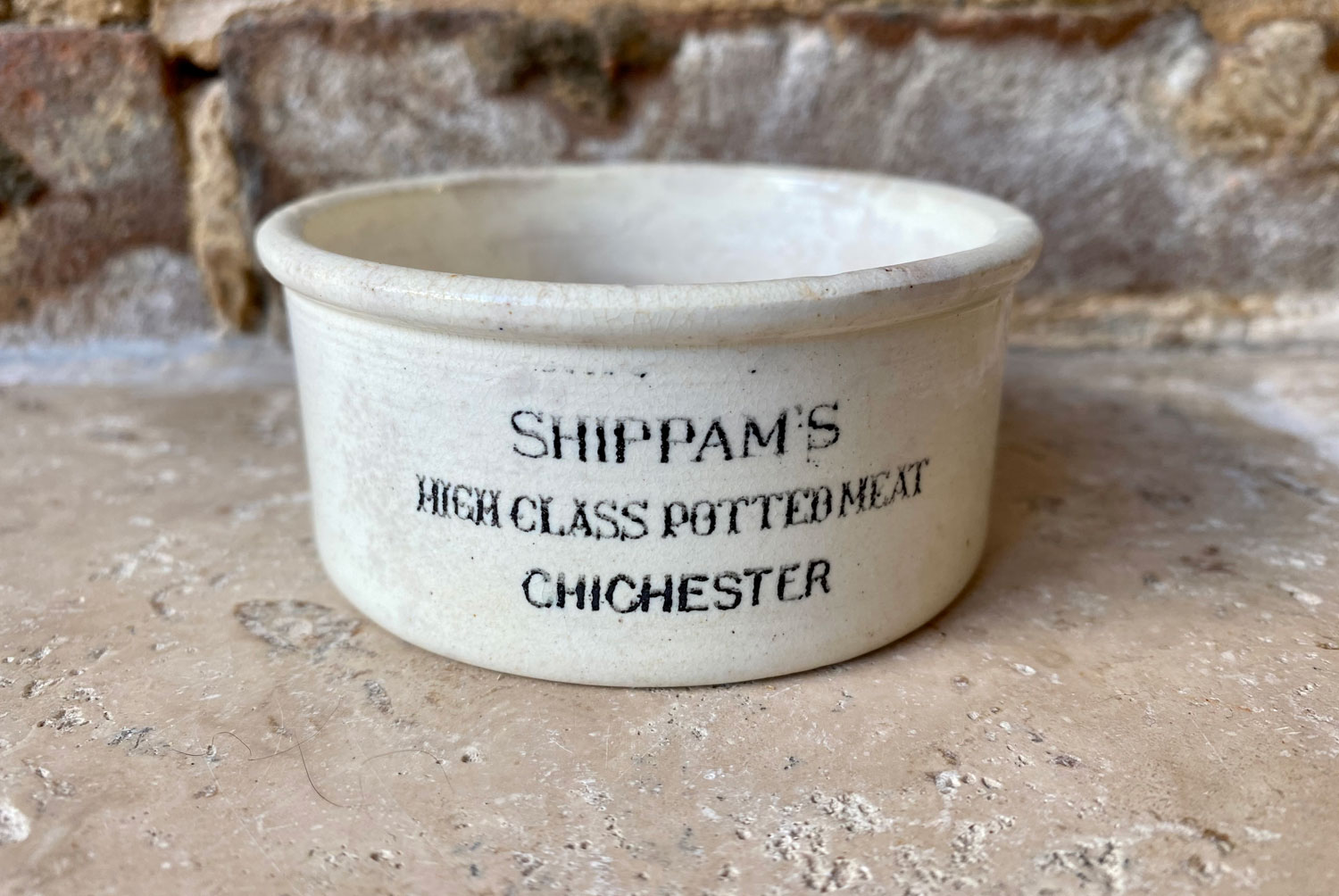 antique victorian white ironstone english advertising pot shippams high class potted meat chichester