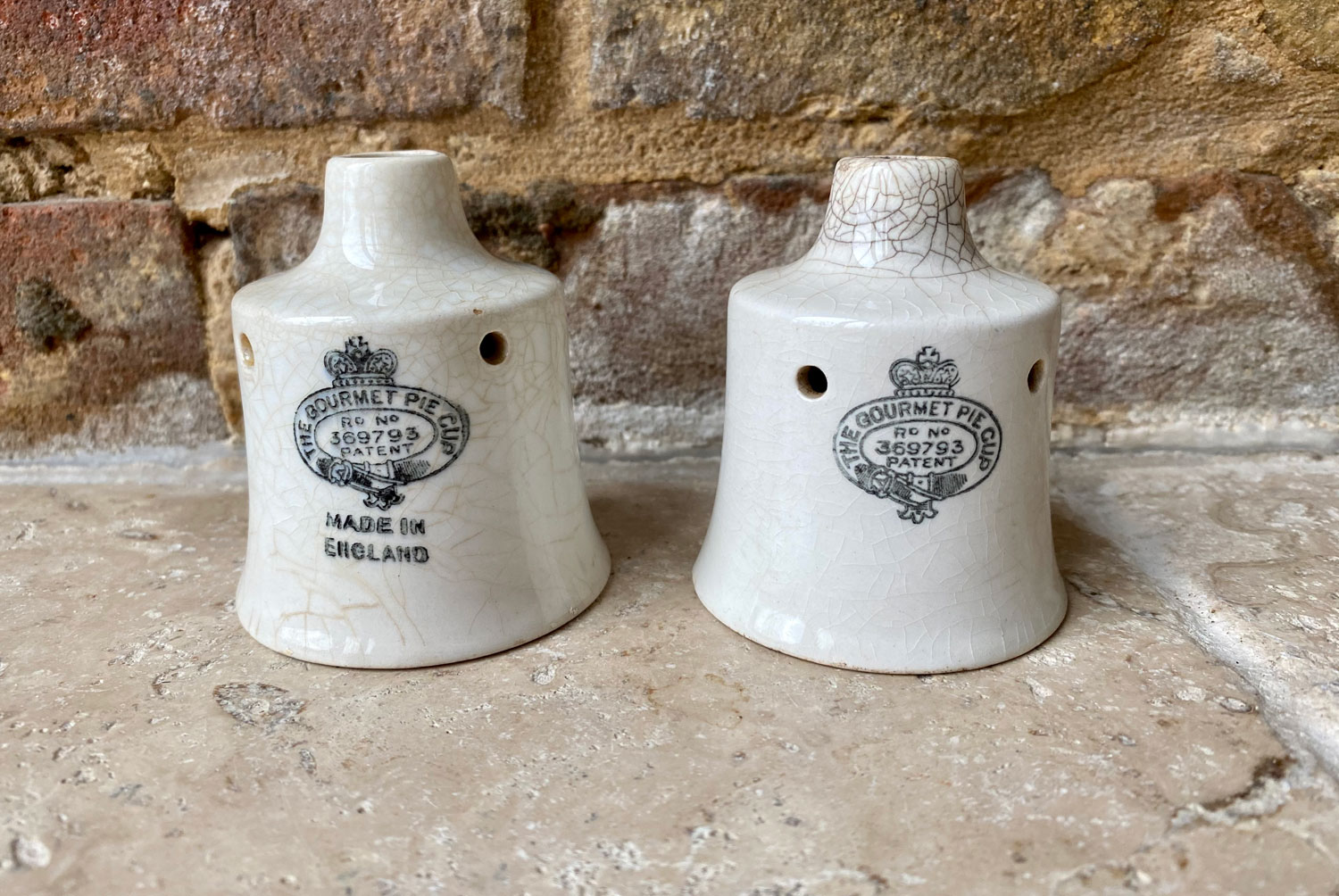antique early 20th century white ironstone gourmet pie cup funnel vent black transfer print logo