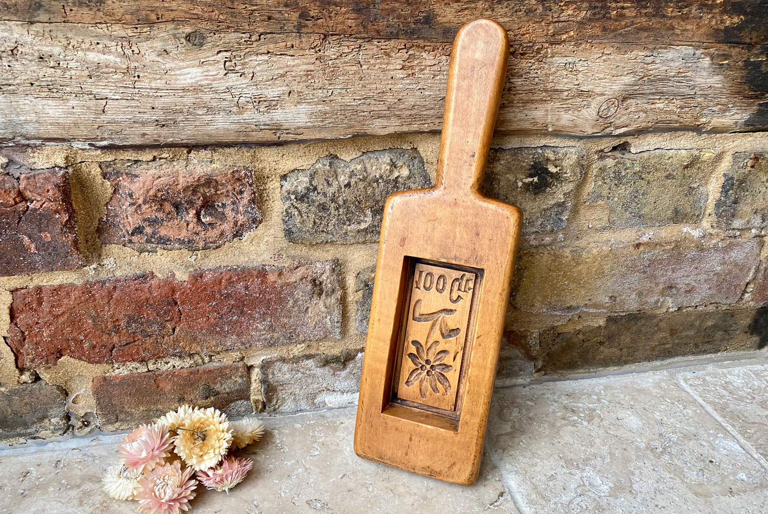 vintage mid century french carved treen wooden butter mould form floral decoration 100 gr size
