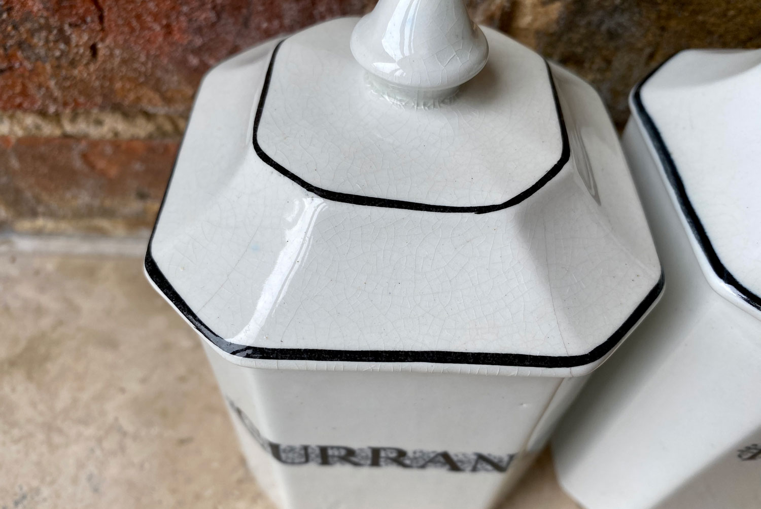 antique 1920s early 20th century jappa gibsons black white ironstone labelled kitchen storage jars canisters