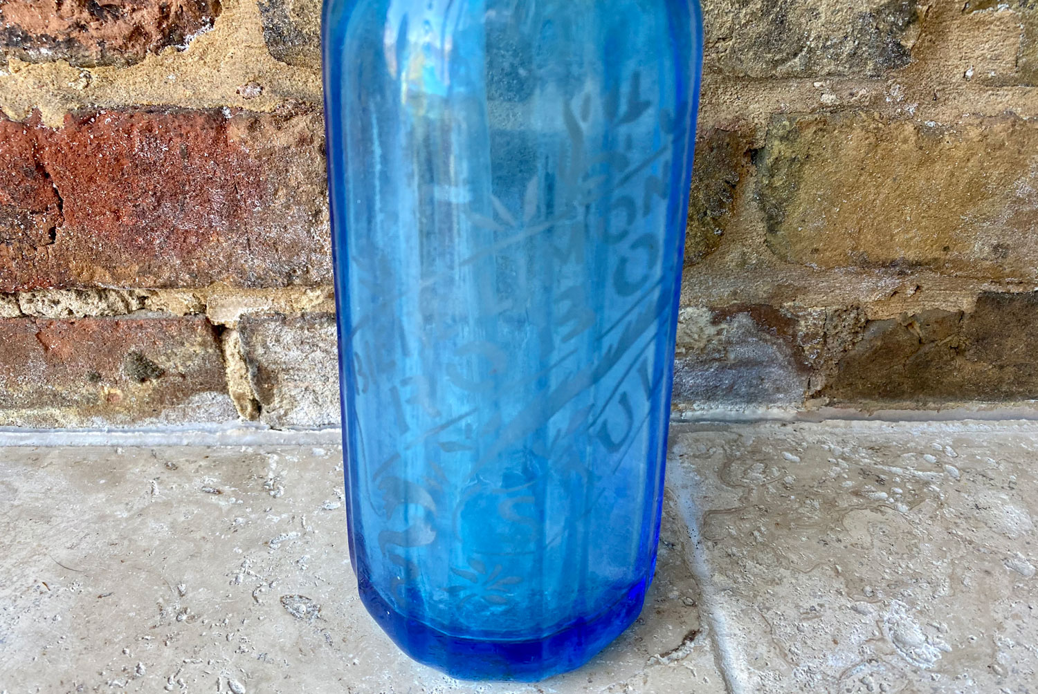 antique 1930s turquoise blue heavy glass soda syphon