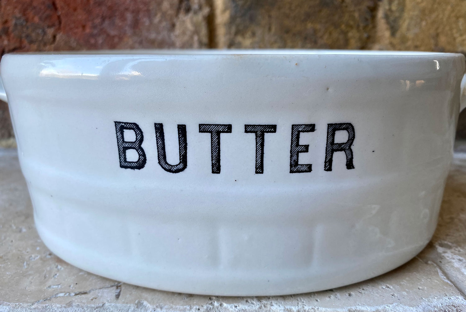 antique white ironstone mailing 1930s butter dish crock rare hatched lettering