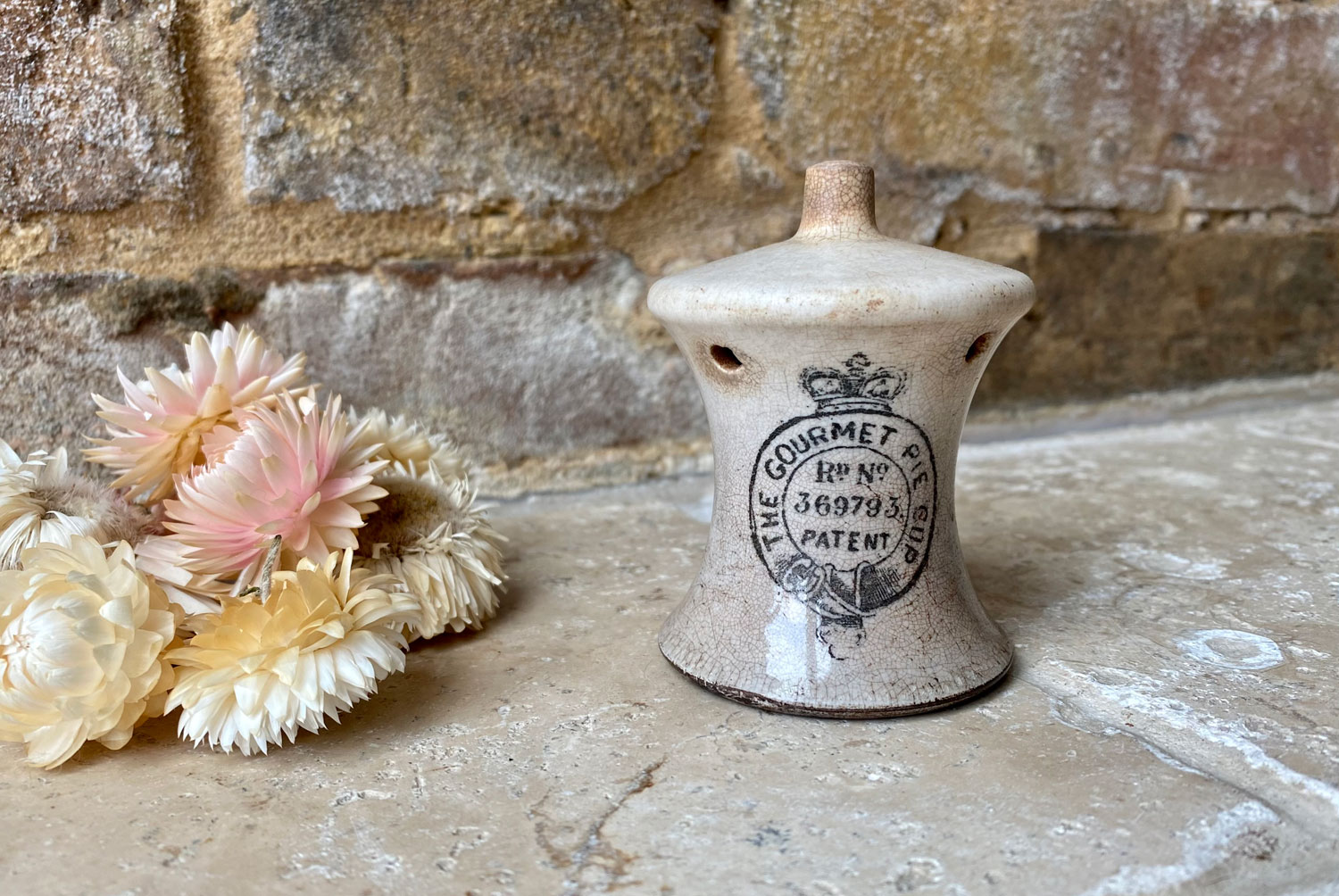 antique 1920s white ironstone gourmet pie cup advertising vent funnel
