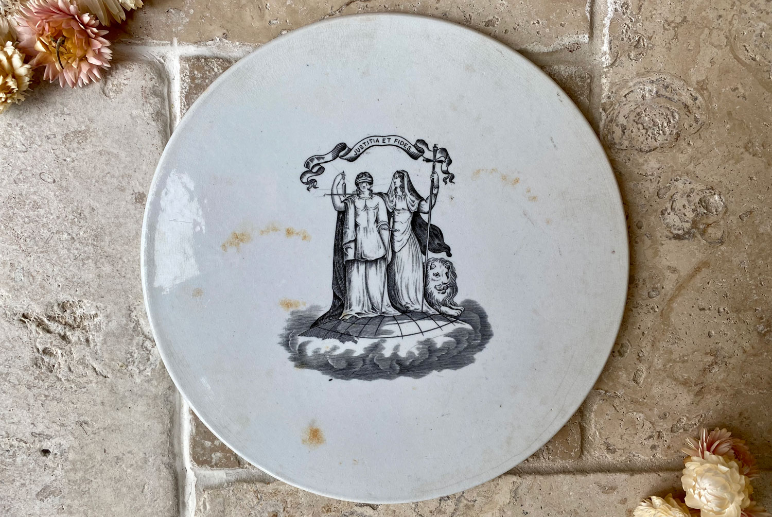 antique edwardian victorian white ironstone grocers shop advertising scale plate justitia fides black transfer print logo
