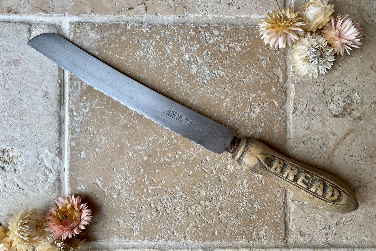 antique early 20th century carved english treen wooden bread knife stainless steel blade