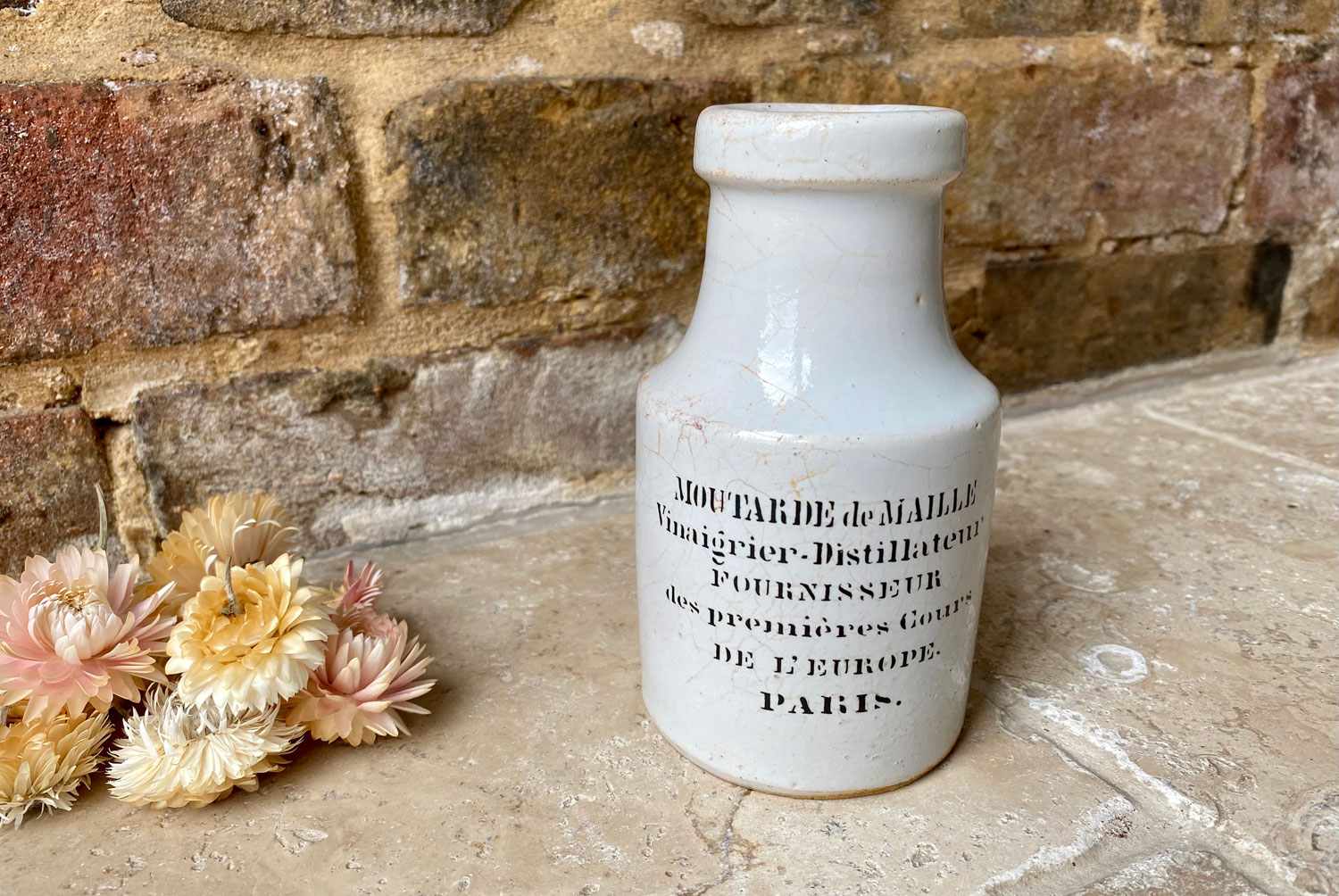 antique french white ironstone advertising pot moutarde maille mustard