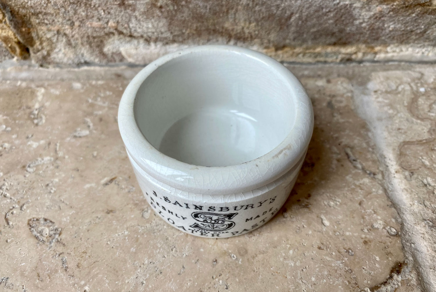 antique victorian english adverting pot white ironstone small shallow j sainsburys bloater paste