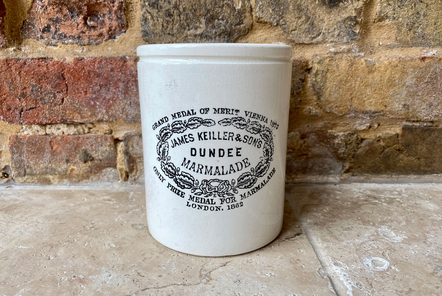 antique victorian rare extra large 3 three pound james keiller english advertising pot dundee marmalade crock