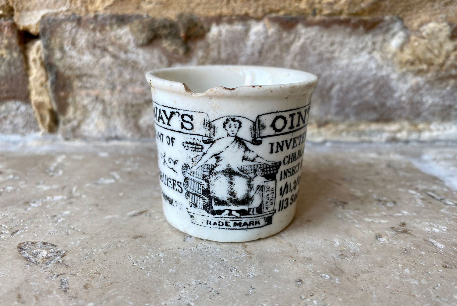 antique early 20th century white ironstone rare sized holloways ointment advertising pot