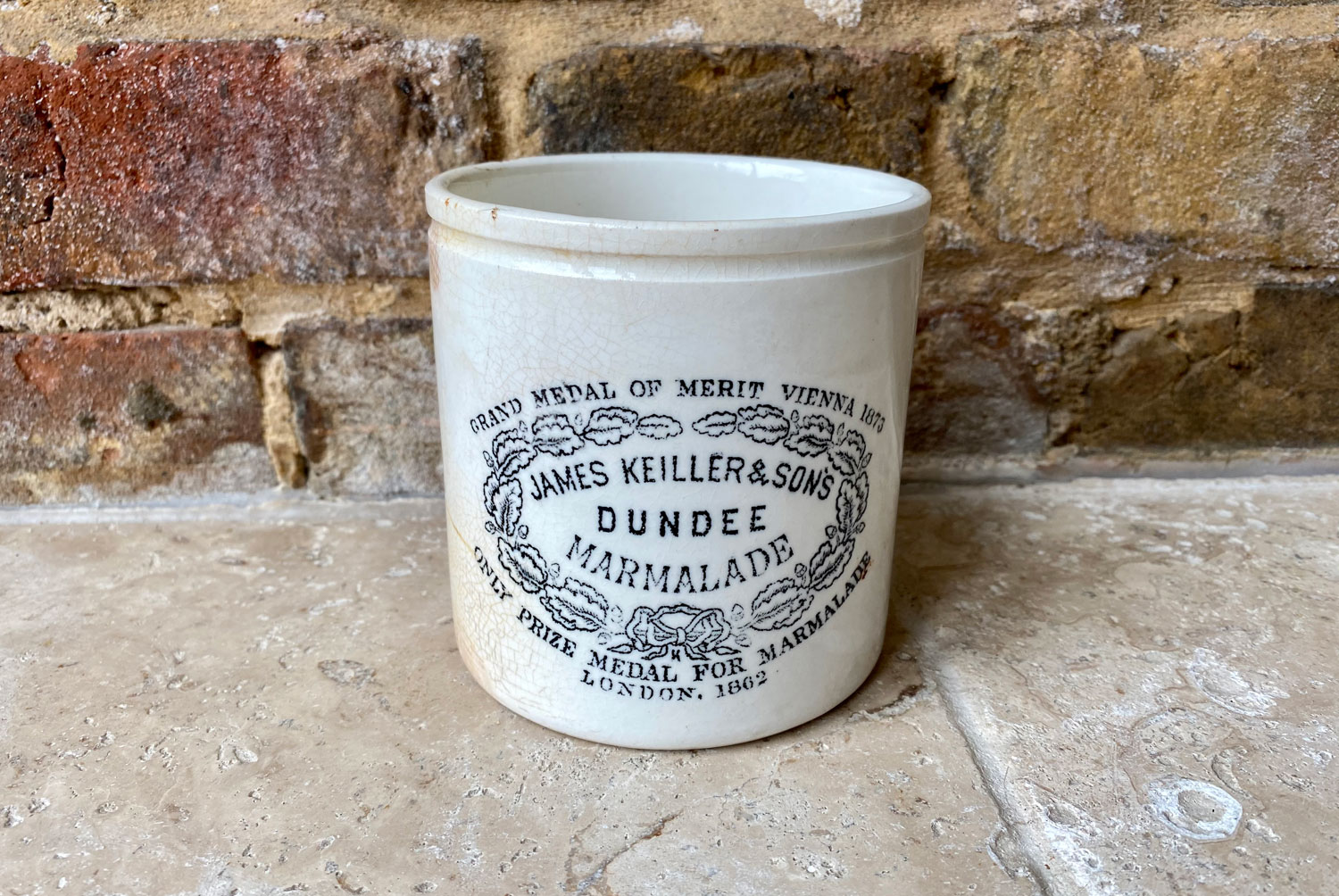 antique victorian rare large chubby two pound white ironstone james keiller dundee marmalade advertising pot