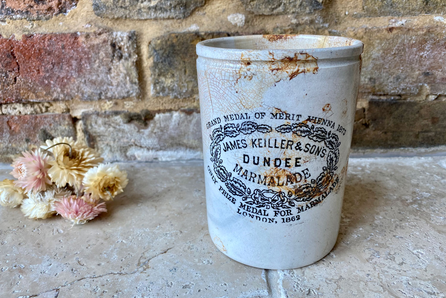 antique victorian large white ironstone english scottish advertising pot two pound james keiller dundee marmalade crock