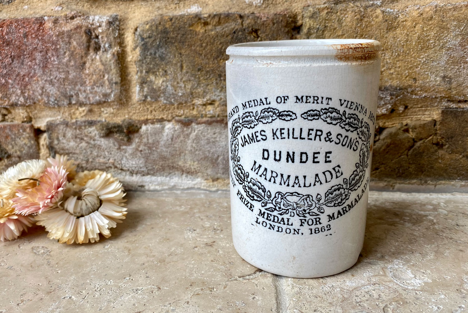 antique victorian slim one pound white ironstone james keiller dundee marmalade advertising pot