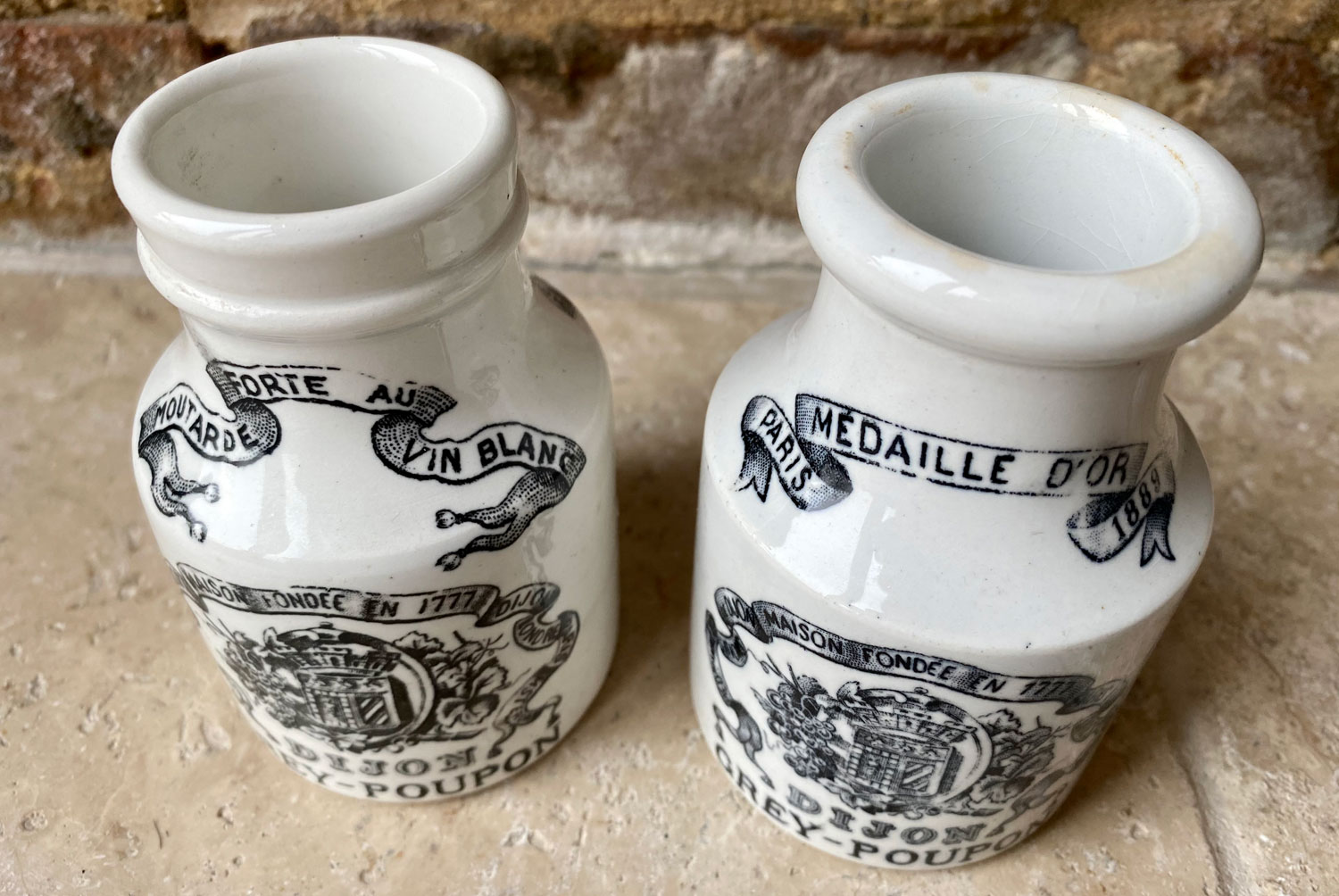 antique french sarreguemines early 20th century white ironstone advertising pot grey poupon french mustard