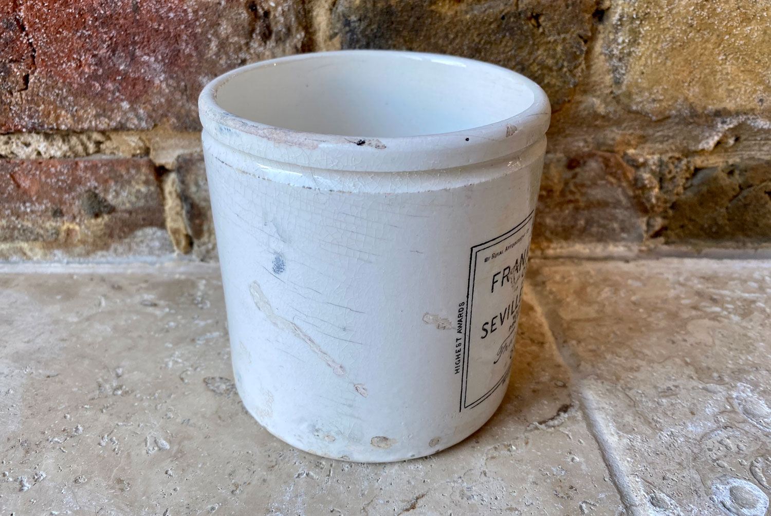 antique victorian large white ironstone two pound 2lb frank cooper oxford marmalade english advertising pot