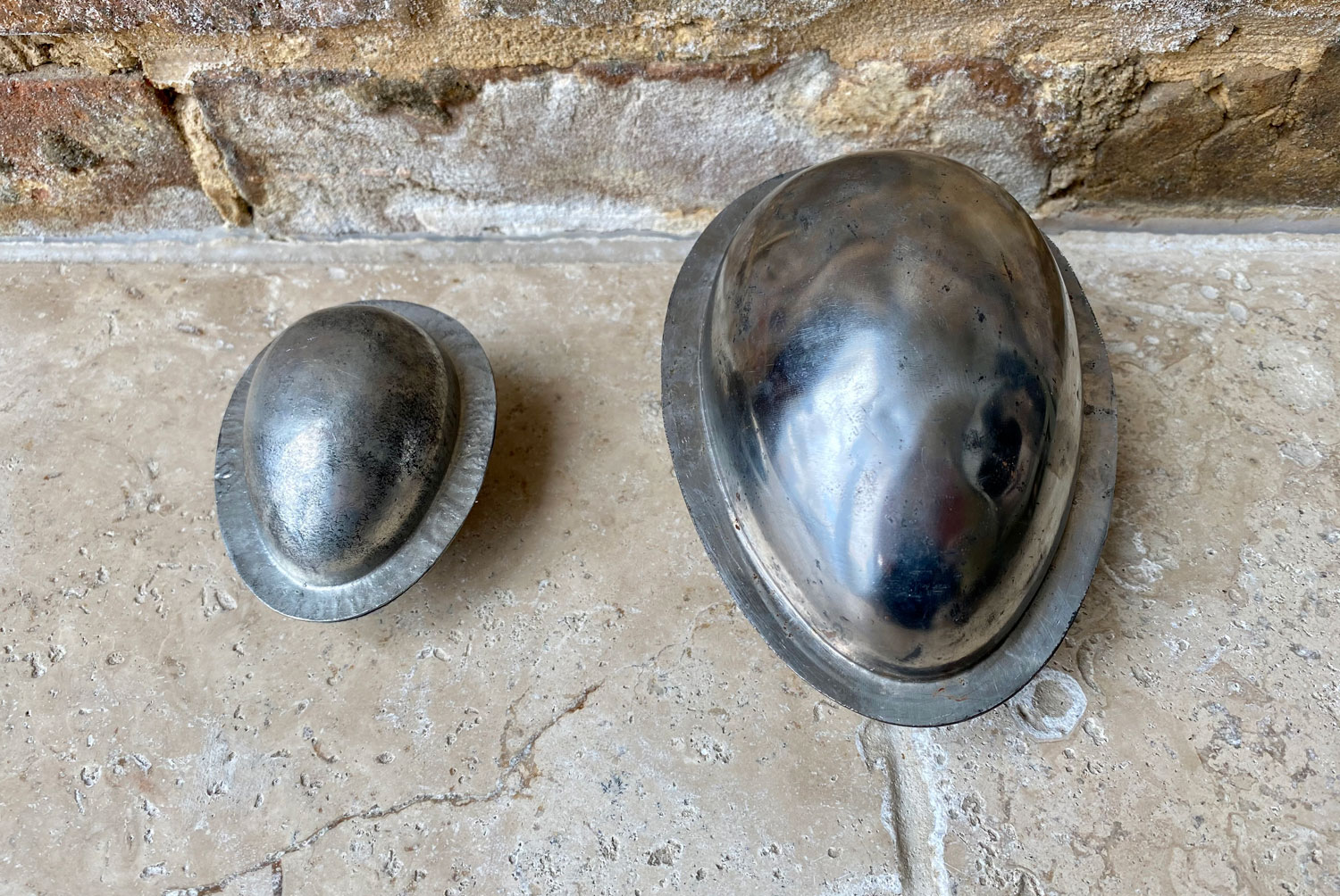 vintage mid century french dutch aluminium chocolate easter egg mould