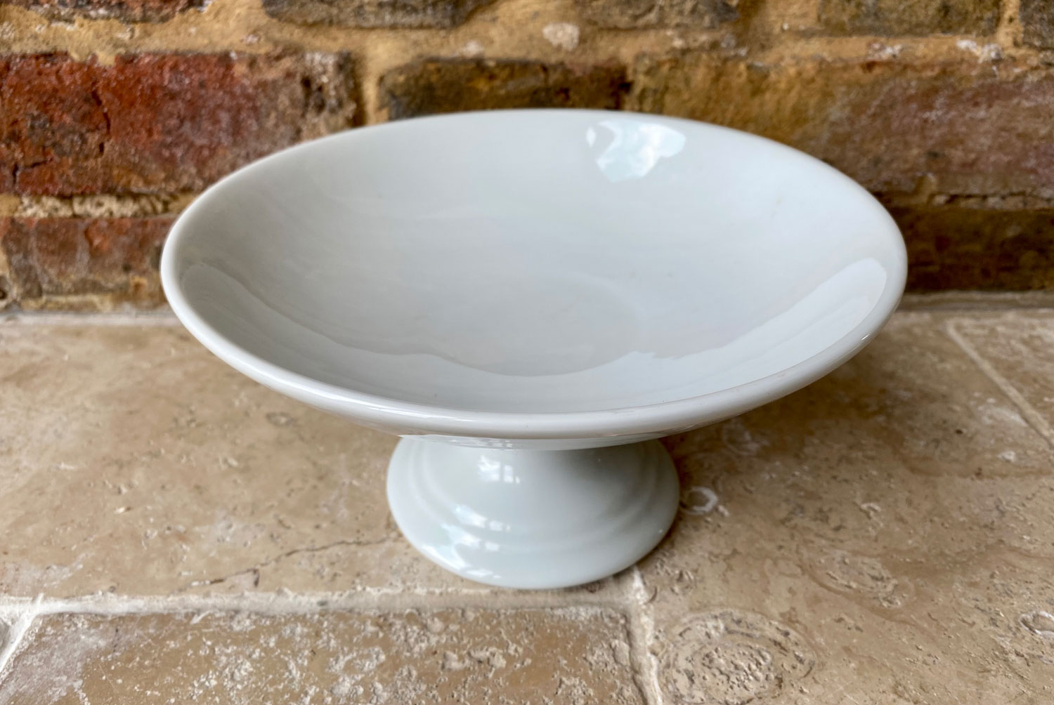 vintage french plain white ironstone mid century compote dish stand compotier white ironstone