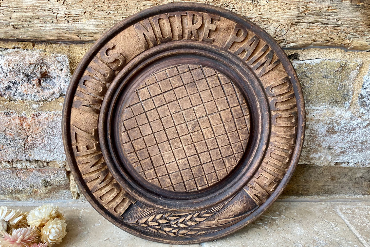 antique french early mid century deeply carved circular round breadboard donneze nous pain quotidien give us this daily bread