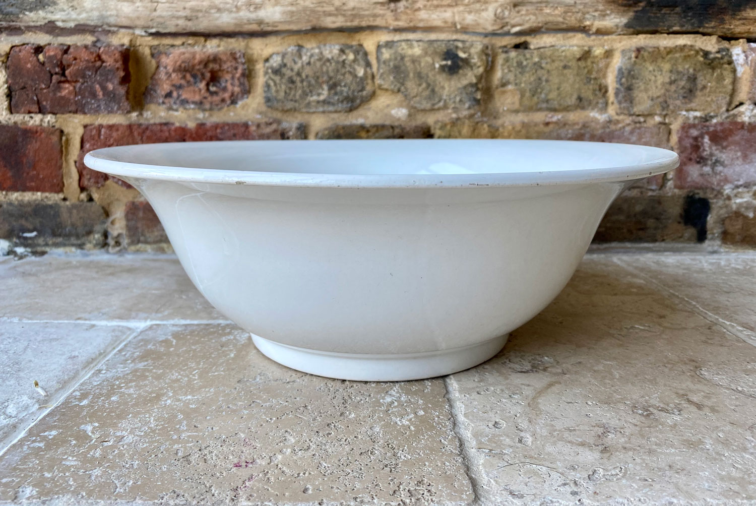 antique french white ironstone early 20th century sarreguemines large mixing bowl
