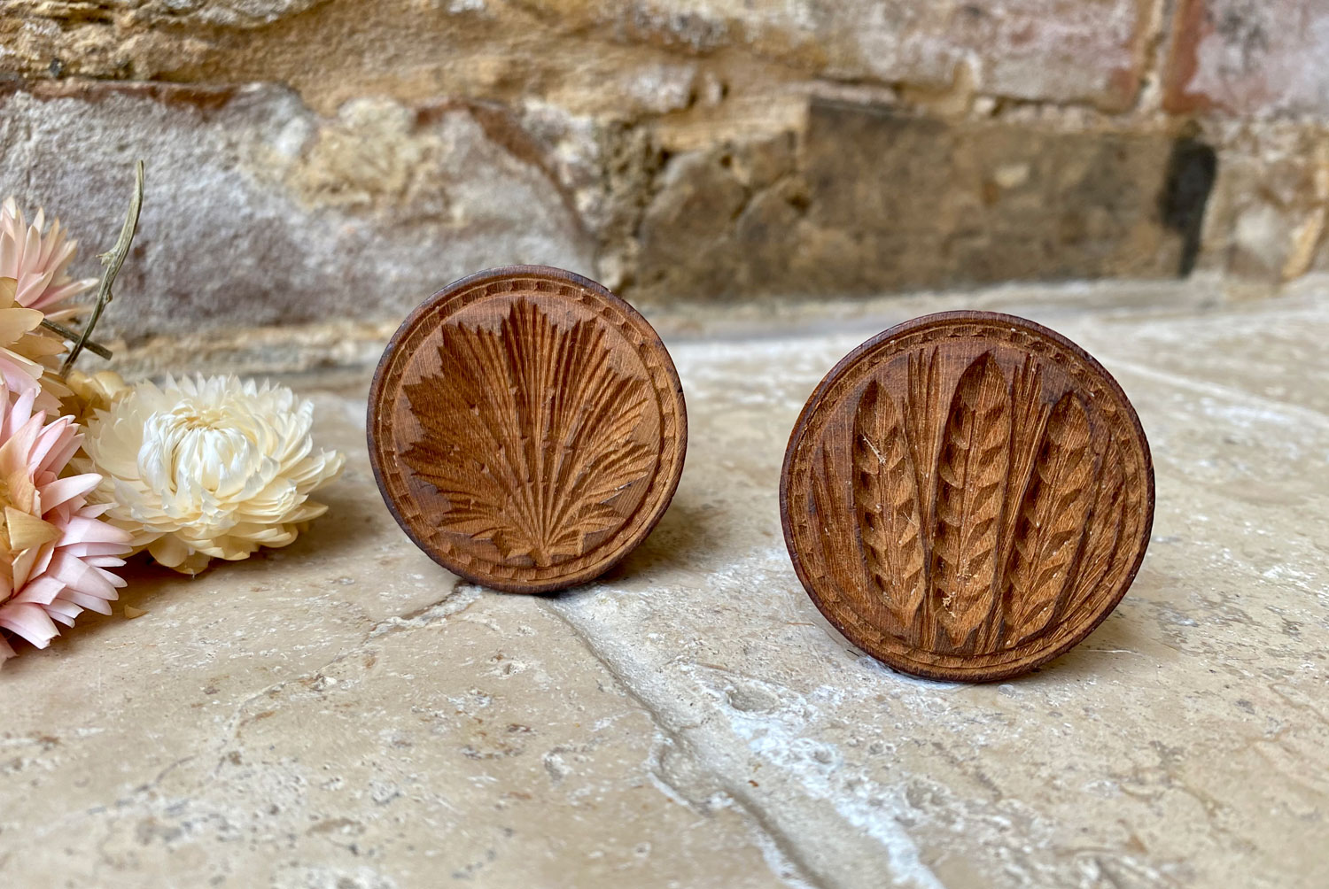 early 20th century treen wooden carved english butter stamp mould wheat ears leaf