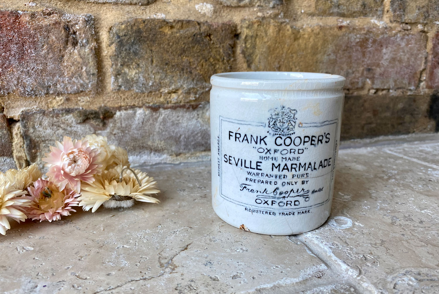 antique victorian white ironstone english advertising pot frank cooper oxford marmalade one pound 1lb chubby squat