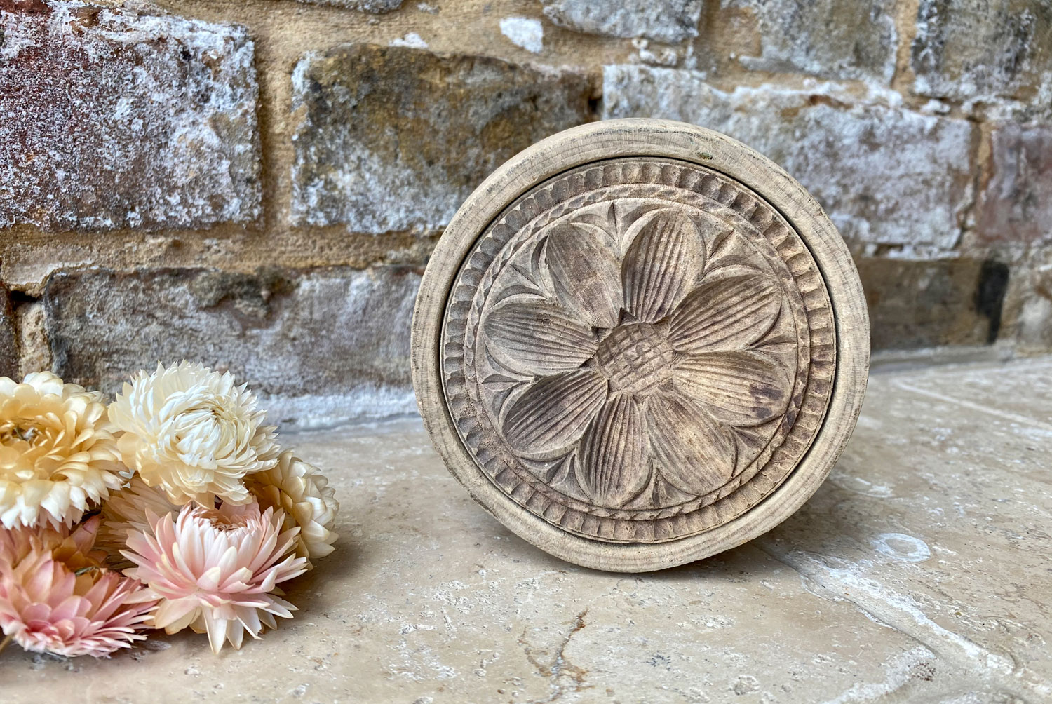 rare victorian large deeply carved sunflower patter butter stamp mould biscuit press treen wooden
