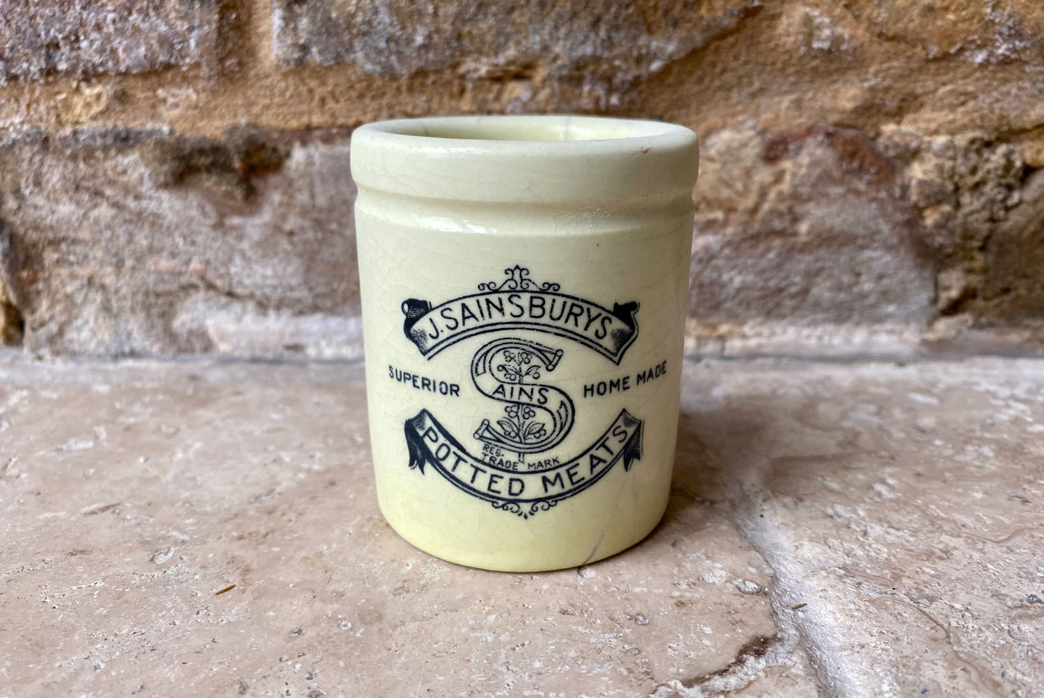 antique victorian english advertising paste pot j sainsburys potted meat
