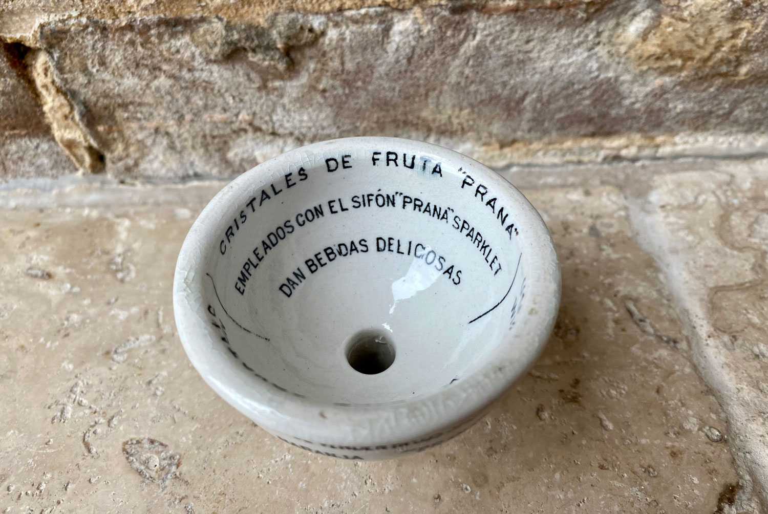 rare scarce prana fruit crystals measuring funnel double sided white ironstone advertising