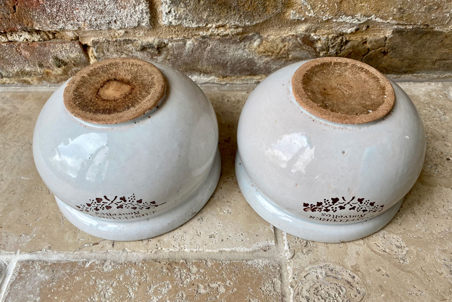 antique early 20th century french shallow rounded confitures pot nouvelles stoneware ironstone advertising jam pot jars