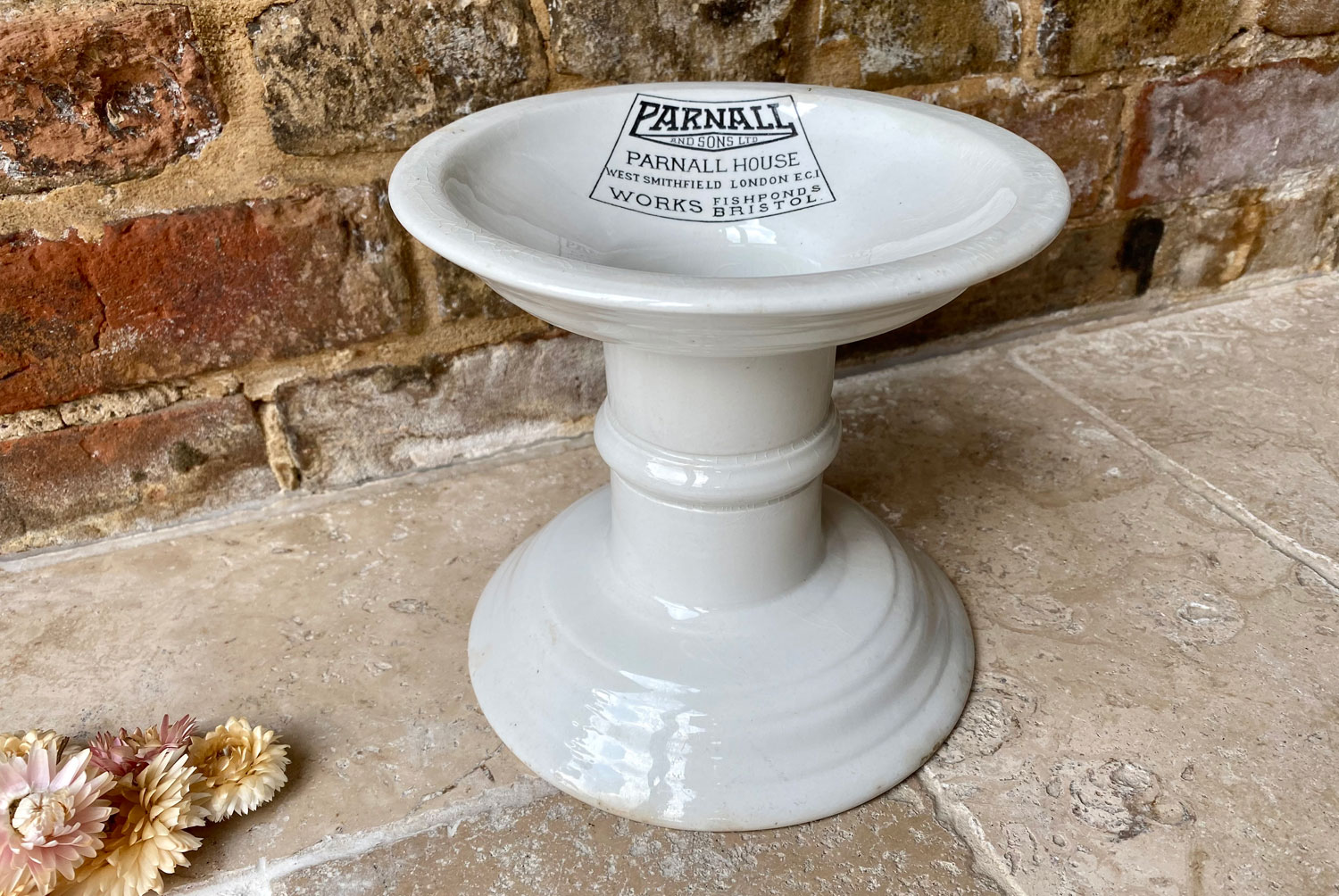 antique edwardian rare white ironstone advertising ham stand parnall sons shop outfitters logo bristol smithfield