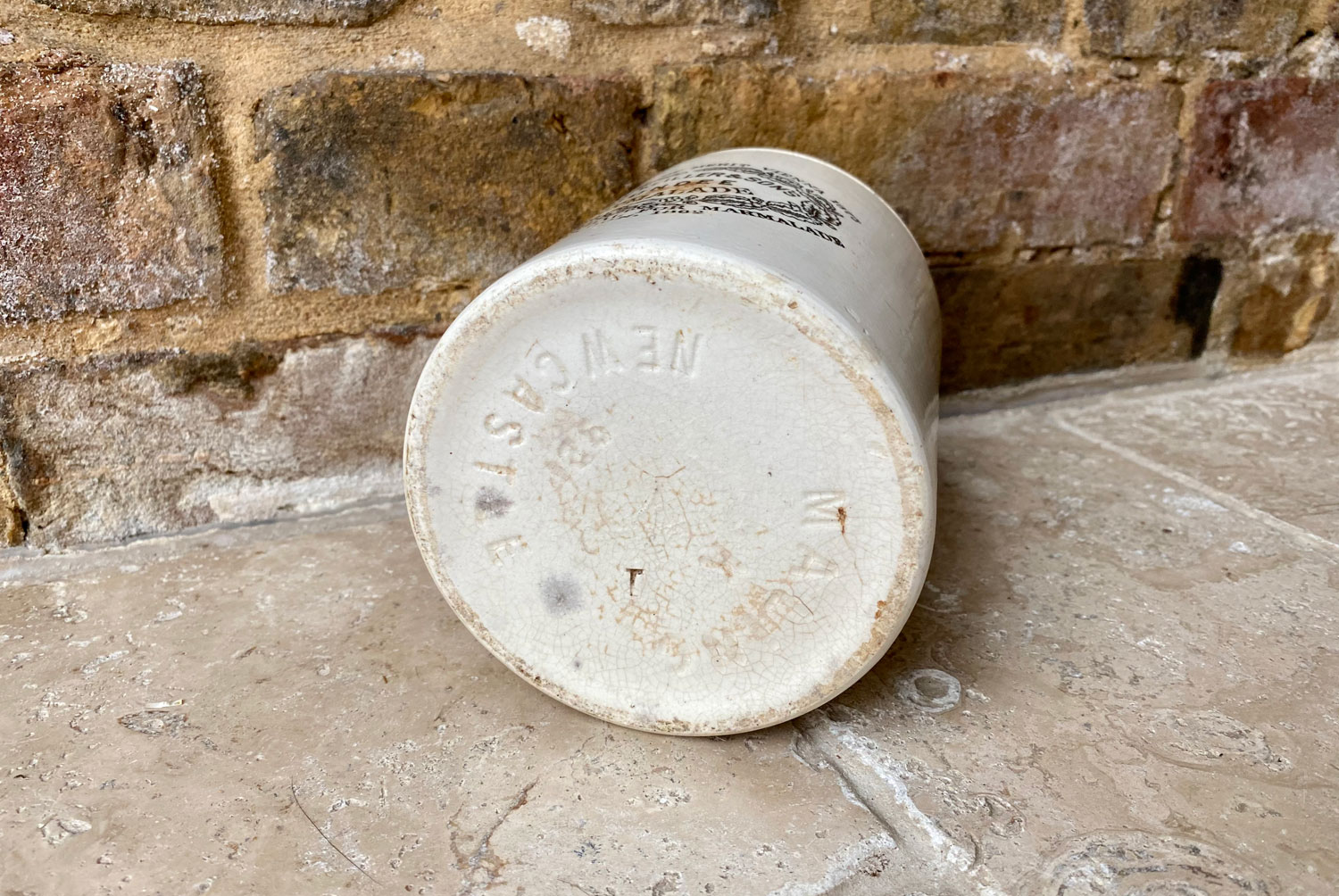 antique victorian white ironstone rare extra large three pound 3lb james keiller dundee marmalade english advertising pot