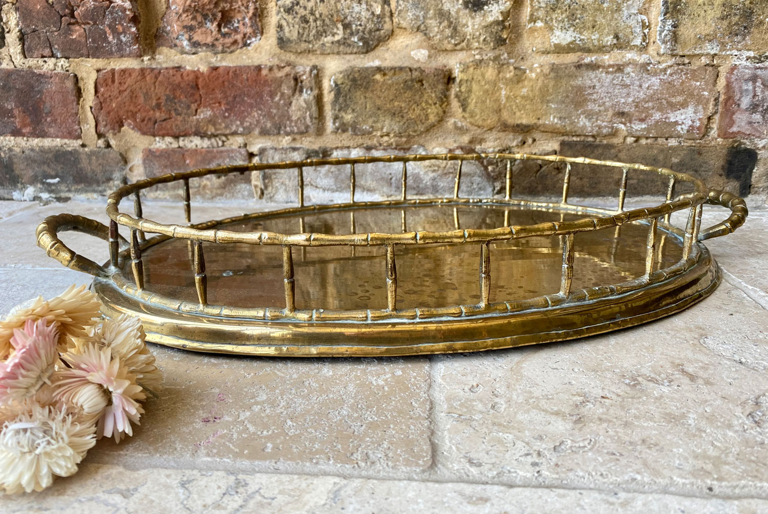 vintage 1960s mid 20th century large brass tray drinks bar hollywood regency style