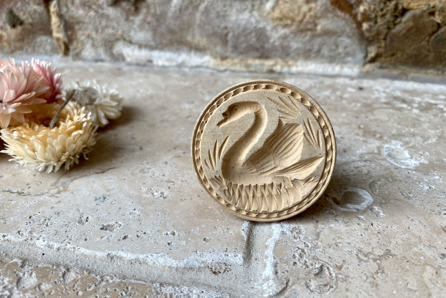 vintage mid century deeply carved treen wooden swan butter stamp