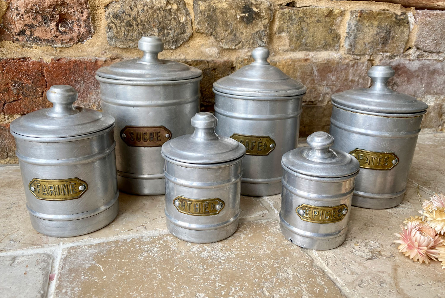 antique vintage early mid 20th century french aluminium set six kitchen storage jars containers