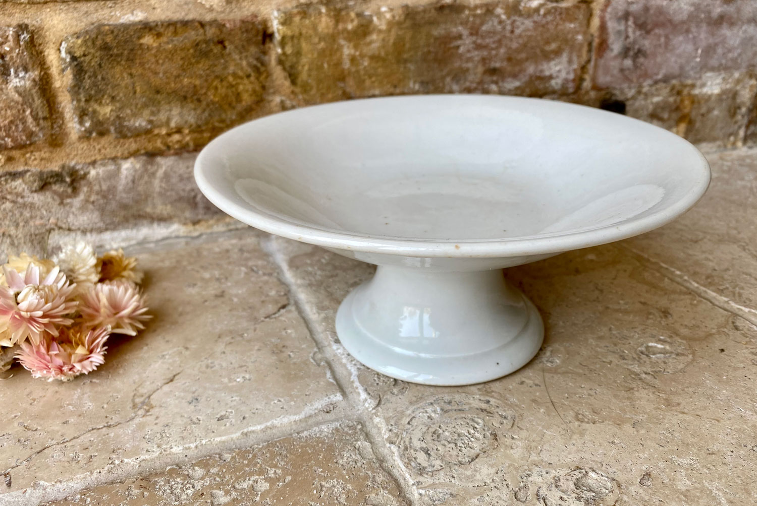 antique early mid 20th century small footed french plain white ironstone compote stand dish compotier
