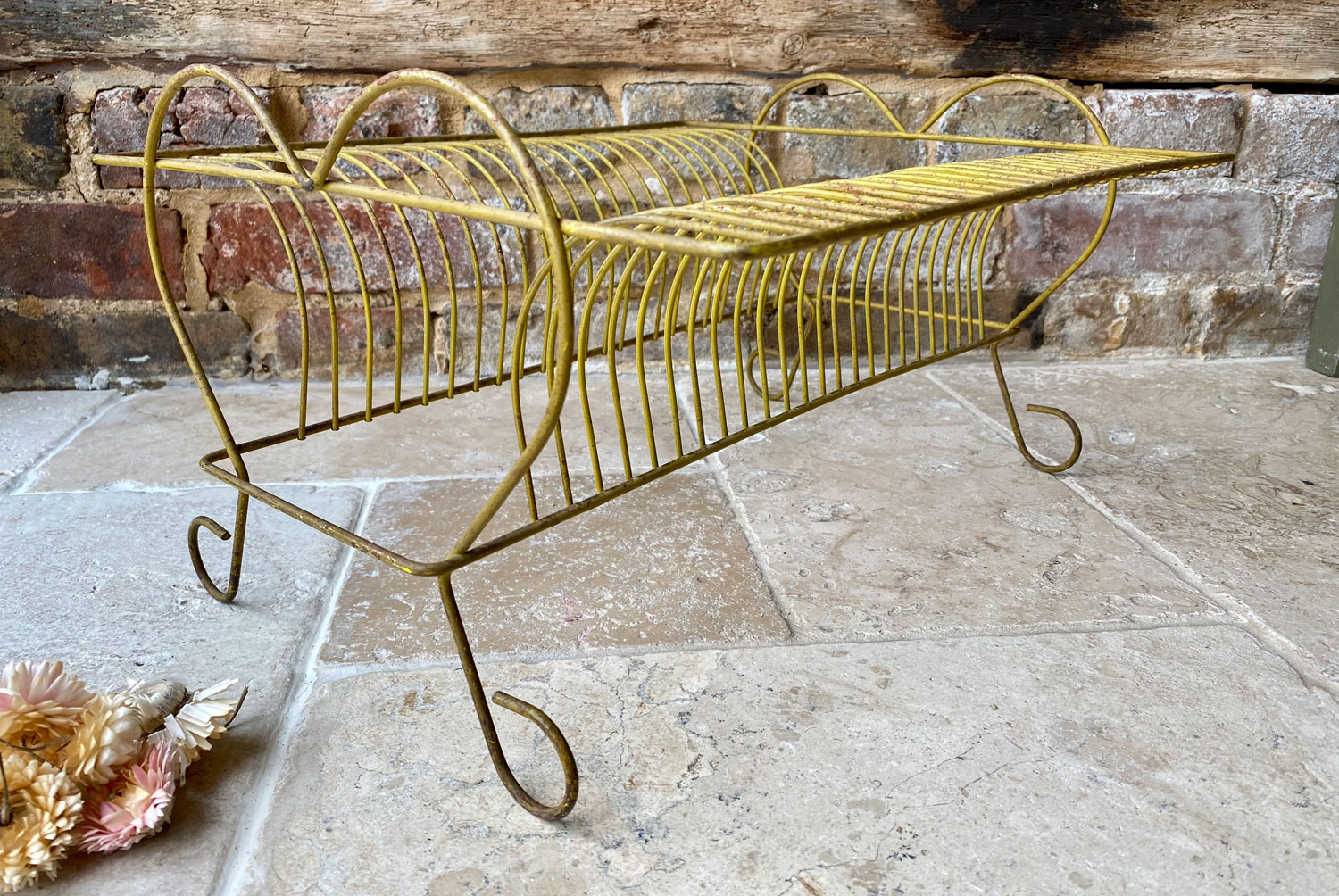 vintage french 1950s mid century painted wirework plate rack record display stand heart shaped