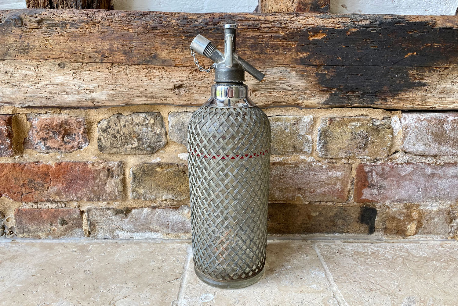 antique 1930s english british sparklets wire meshed glass seltzer soda syphon
