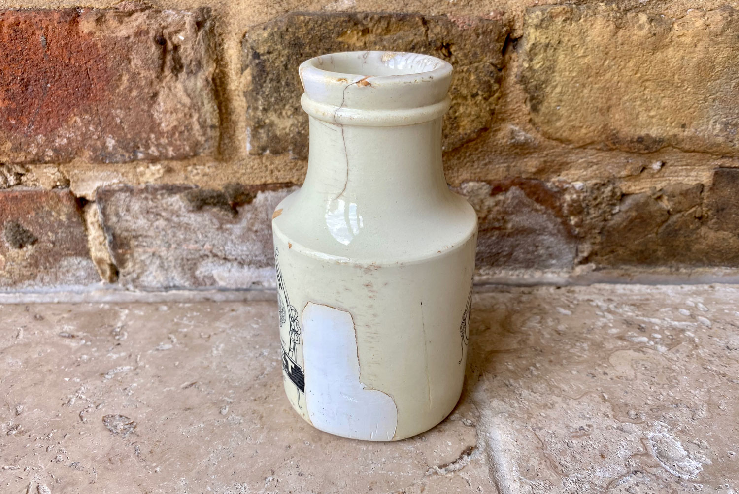 rare antique early 20th century sarreguemines white ironstone french bocquet mustard advertising pot